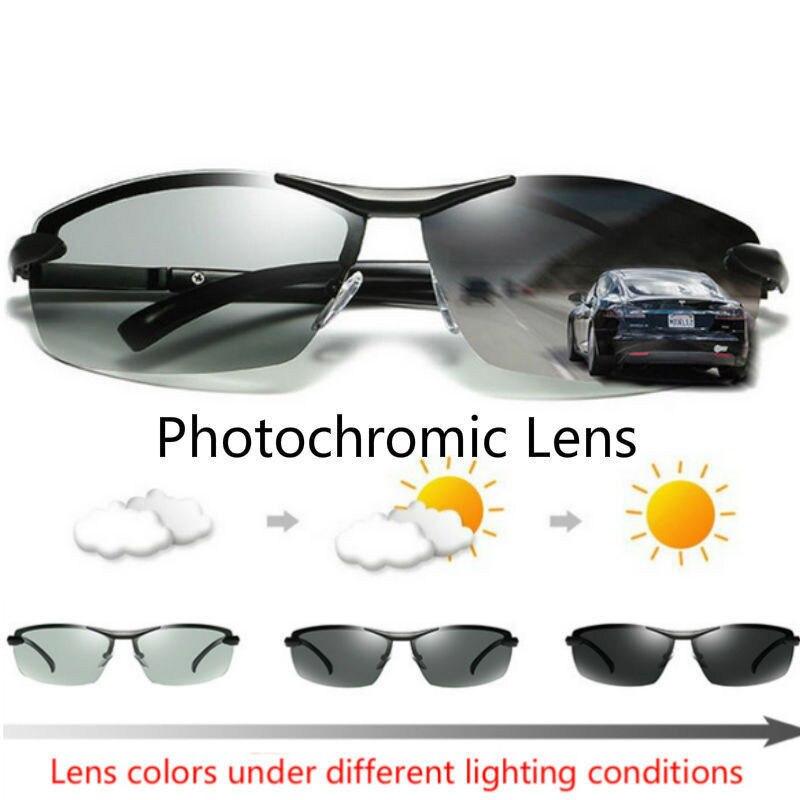 Driving Photochromic Sport Sunglasses Men Polarized Chameleon Discoloration Driving Fishing Sunglasses UV400 Male Drive Goggles