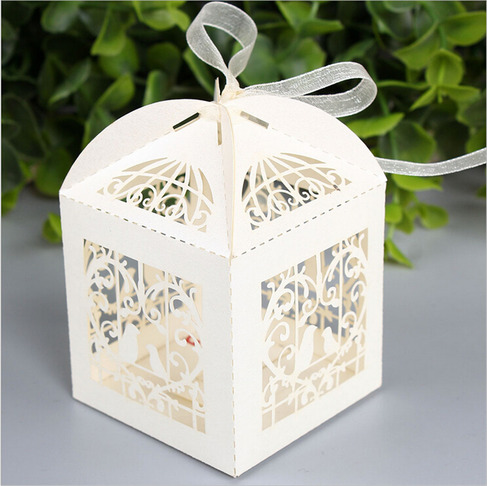 Free Shipping 50Pcs/lot Love Birds Wedding Candy box Craft Paper ...