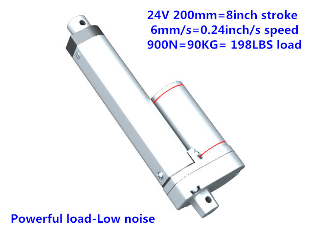 24V 200mm=8 inches stroke 1000N=100KG=225LBS load 10mm/sec=0.4inch/sec speed DC electric linear actuator LA10 type taiwan sec 1 line type electric scissors simple type