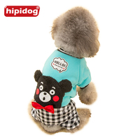 Hipidog Spring Autumn Winter Dog Warm Shirt Jumpsuit Clothes Coat With Bowknot Plaid Rompers Pupply Apparel
