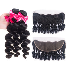 Лучший!  Loose Wave Bundles With Frontal Remy Malaysia Human Hair Bundles With Closure 3 Bundles With Closure