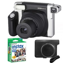 Fujifilm Instax Geniş 300 Film Kamera Siyah + 20 Levhalar Fuji Anında 210 Film Fotoğraf Kağıdı + Yumuşak Kılıf Kapak çanta Cilt Kabuk