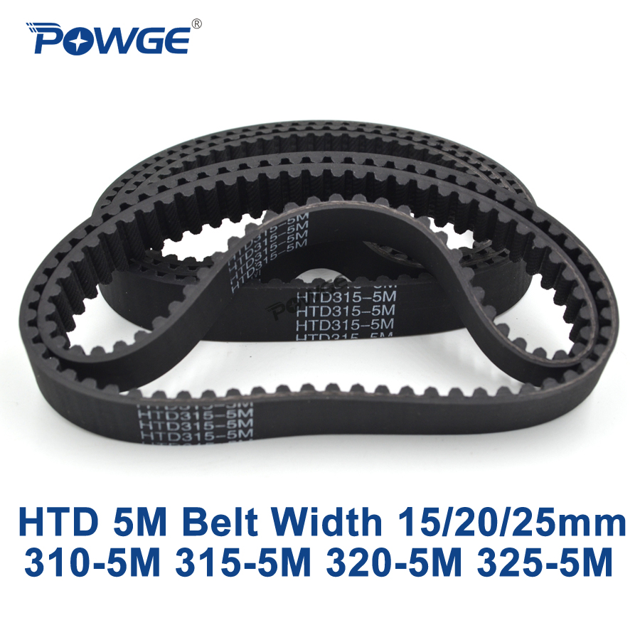 POWGE HTD 5M Timing belt C=310/315/320/325 width 15/20/25mm Teeth 62 63 64 65 HTD5M synchronous Belt 310-5M 315-5M 320-5M 325-5M belt