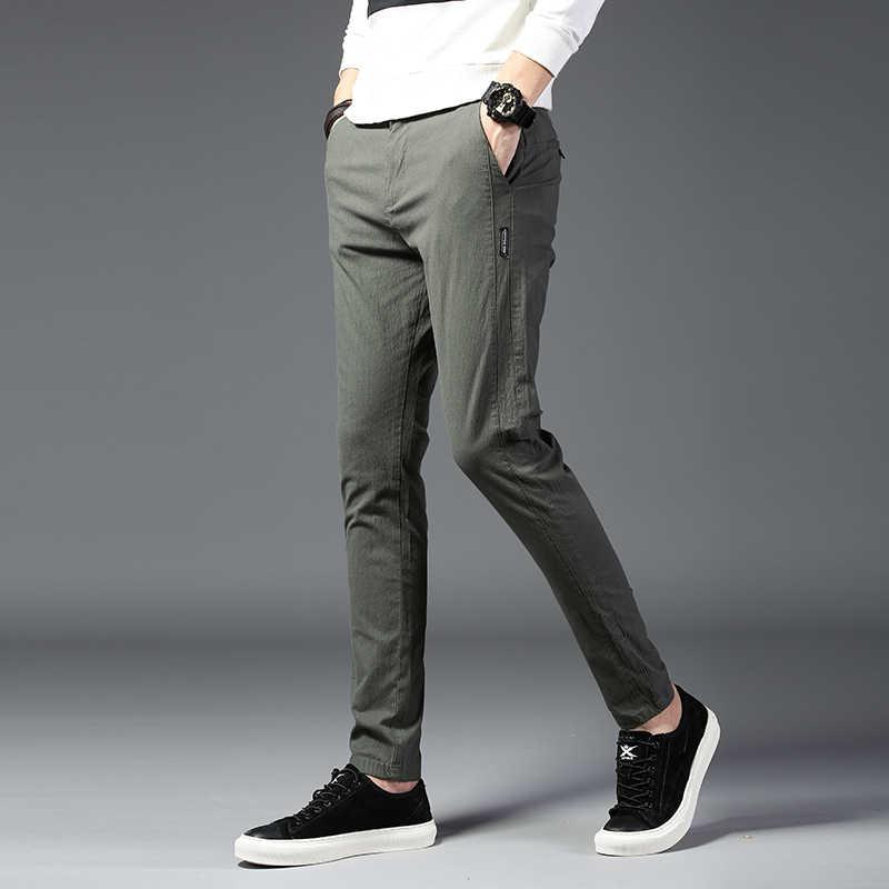Pantalones de negocios de talla grande a la moda para hombre 2019 pantalones ajustados a la moda para hombre, pantalones de algodón para hombre, ropa Formal pantalon Hombre