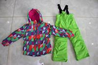 2017 Children Ski Suits Thick Waterproof Boy Girl Outdoor Clothing Windproof Two Piece Snow Jacket Bib