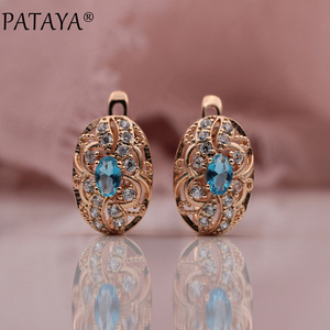 PATAYA 328 Anniversary 585 Rose Gold 11 Colors Oval Micro Wax Inlay Natural Zircon Dangle Earrings Women Wedding Party Jewelry