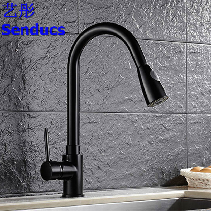Free shipping Senducs pull out kitchen faucet with 360 degree rotation solid brass kitchen sink faucet of hot cold water faucetFree shipping Senducs pull out kitchen faucet with 360 degree rotation solid brass kitchen sink faucet of hot cold water faucet