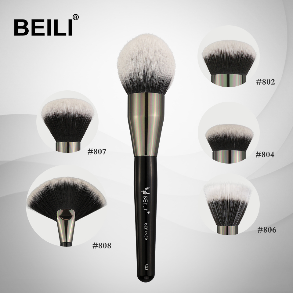 BEILI 1 piece Synthetic hair Single Big Powder Fan Cream foundation Stippling Finish Single Makeup Brushes beili single 104 flat kabuki single synthetic hair face для умывальника румяна черная макияжная кисть