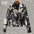 Black with floral printed PU leather jackets coat women motorcycle jacket off-center zip placket coats veste en cuir femme LT760