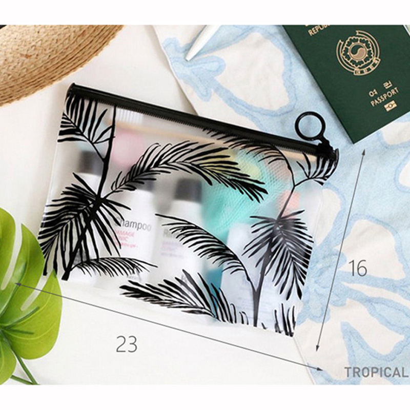 leaf PVC Transparent Travel Cosmetic Bag Make Up Case Women Waterproof Makeup Beauty Wash Organizer Toiletry Storage Kit Box