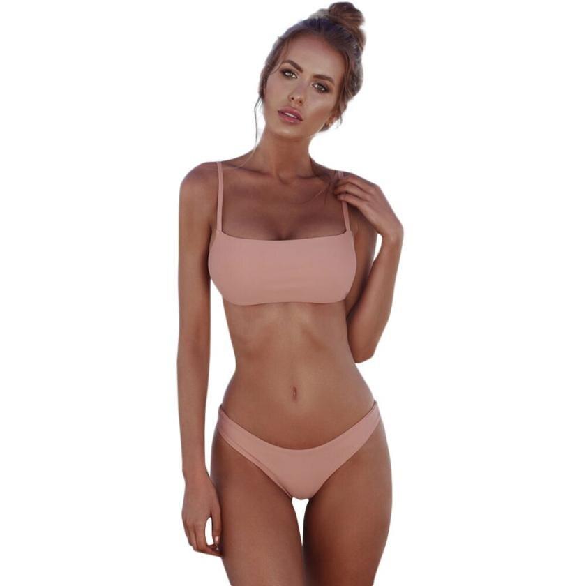Womail 2018 pink Women Bathing Suits Sexy Brazilian Bikini Set female Swimwear Solid Bandeau Swimsuit Push Up Swiming Suit #NY10