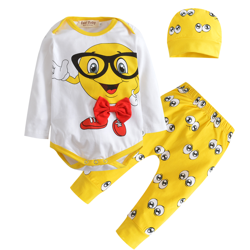 Baby Boy Clothes Autumn Long Sleeve Eyes Printing Bodysuit+pants + Cap Infant 3pcs Suit Newborn Clothing Outfits Sets Baby Girl