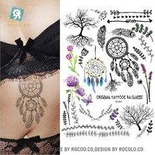 LC-874 Big Black Tatuagem Taty Body Art Temporary Tattoo Stickers Anchor Compass Around The World Glitter Tatoo Sticker