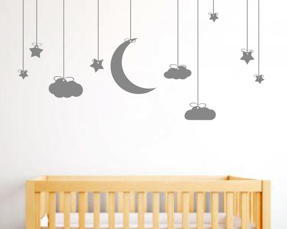 Aliexpress.com: Compre 190X78 Cm Pendurado Estrelas Ea Lua Nuvens Wall Art  Stickers Removível Adesivos De Parede Para Crianças Sala De Arte Mural Da  Parede ... Part 80