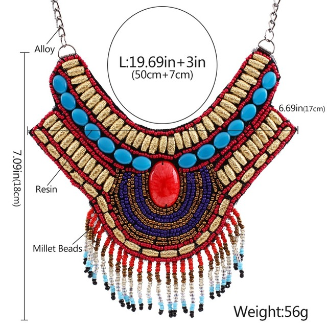 Solememo Vintage Bohemian Necklaces & Pendants Bead Pendant Big Statement Necklace for Women Vintage Ethnic Jewelry gifts N3691