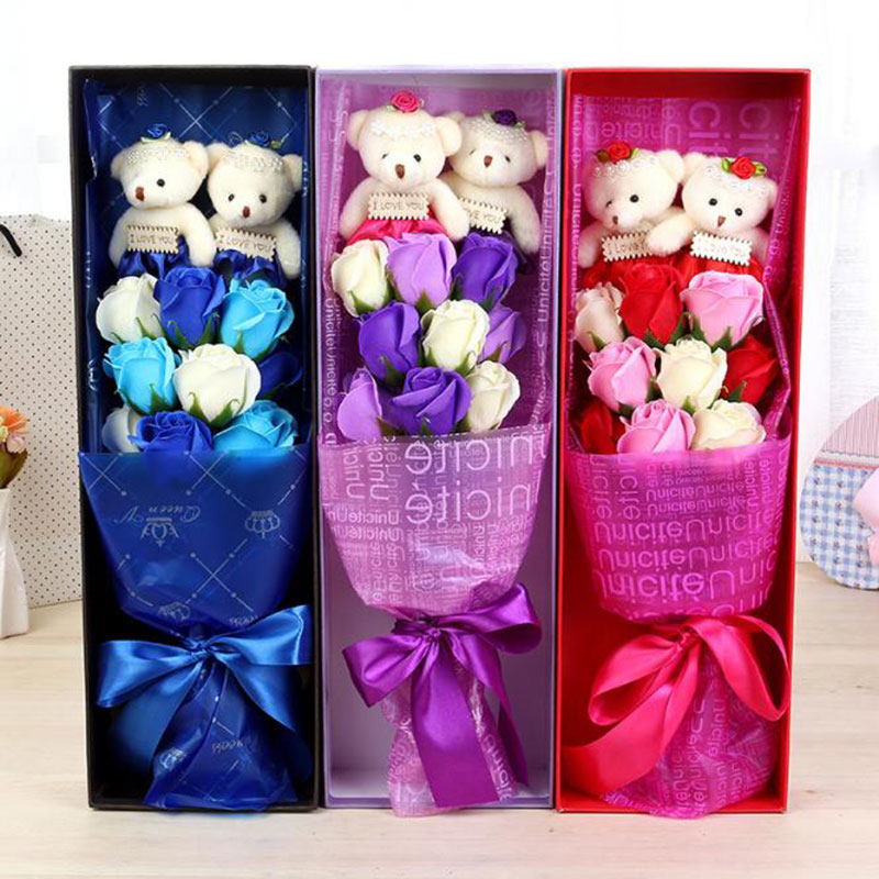 2Pcs New 2017 Handmade Teddy Bear Bouquet Flower Wedding Soft Plush Toy Bouquet Cartoon Doll Fake Rose Love Gift HT3819