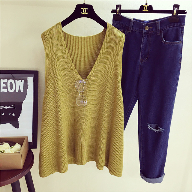 2017 Spring Fashion New Design Women Retro Style Loose Solid Color Sleeveless Knitted Tank Tops