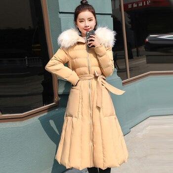 New Fashion Big Fur Collar Hooded Thick Long Warm Cotton Jackets Ladies Cotton Parkas Women Double Side Wear Cotton Coat LJ2007