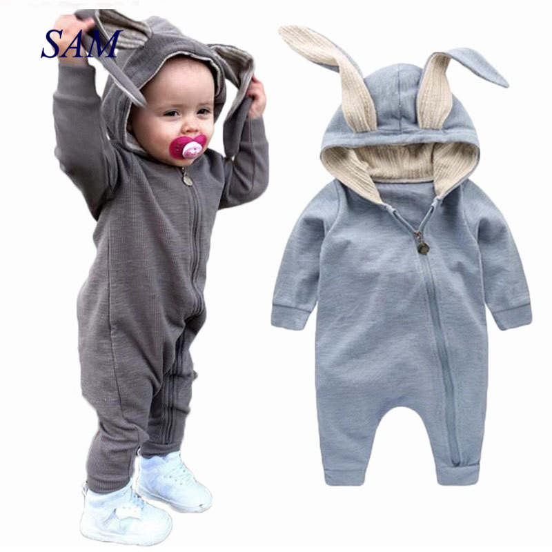 2019 Infant Baby Cotton   Rompers   Cartoon Cute Rabbit Hoodied Girls And Boys Jumpers Toddler Zipper Outfits Clothes