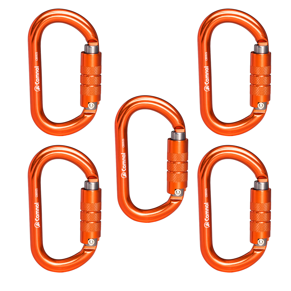 5pcs Durable Rock Auto-Lock Carabiner Climbing Rigging Rescue Mountaineering 25KN
