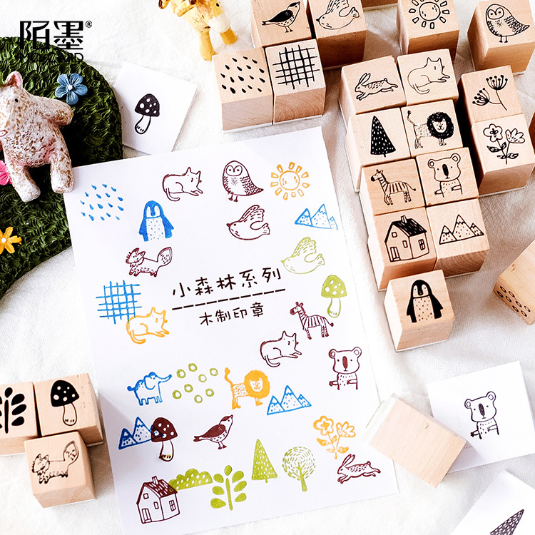 Multiple Design Forest Trees Animals Wood Rubber Stamp Set For Diy Craft Card And Scrapbooking