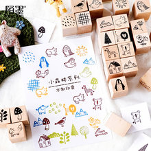 Multiple Design Forest Trees Animals Wood Rubber Stamp Set For Diy Craft Card And Scrapbooking(China)