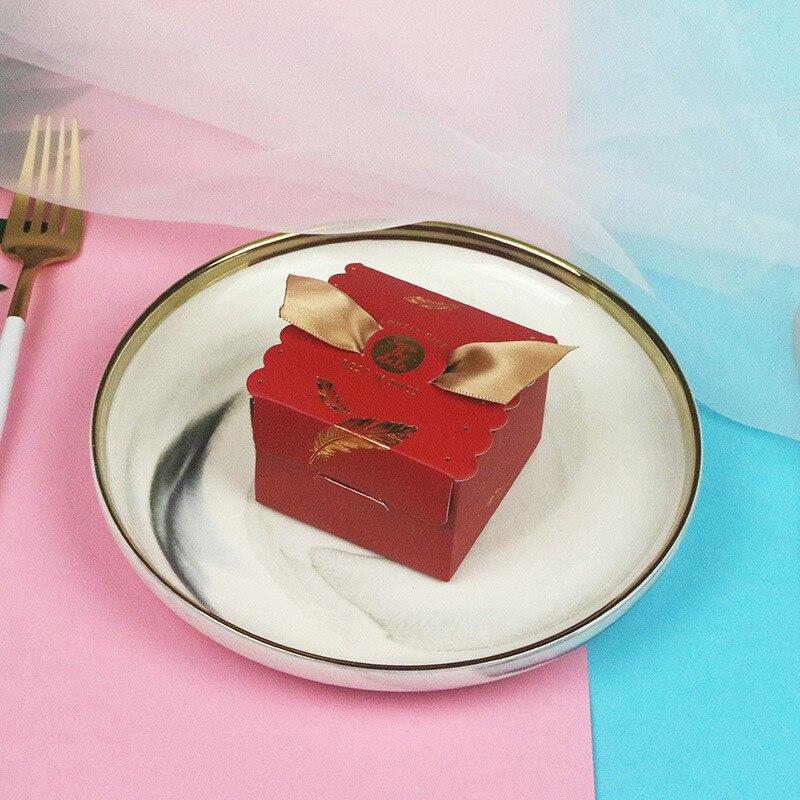 2019 50 pcs Creative haut de gamme fleur boîte faveurs de mariage cadeau boîte paquet fête d'anniversaire cadeau sac papier sacs bonbons boîte emballage - 4