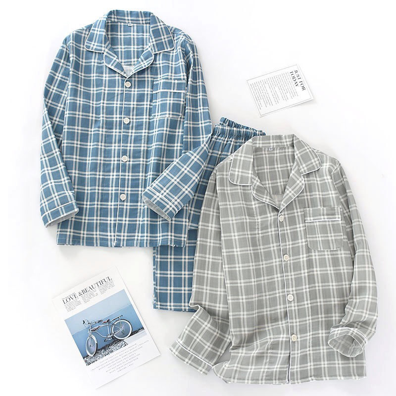 Men's Plaid Pajama Suit 100% Cotton Gauze Thin Casual Pijama Set Long Sleeves Long Trousers Mens Pyjama Autumn Men Sleepwear
