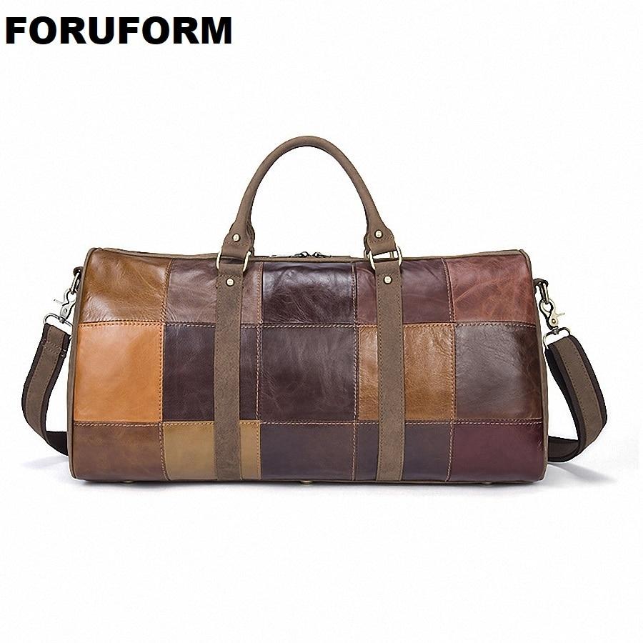Men Genuine Leather Travel Duffle Women Real Leather Travel Bag Vintage Cow Leather Weekend Bag Big Travel Messenger Bag LI-1951