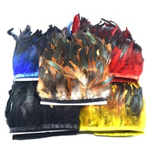 wholesale 10Meter long 13-18cm natural Rooster Feather Trims Fringe Dyed with Satin Ribbon Tape for skirtDIY feathers crafts
