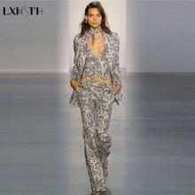 LXMSTH Fashion Runway Pants Suit Women Vintage Slim Designers Retro Pattern Prin