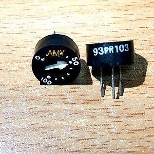 Glass glaze round single ring preset potentiometer 93PR103, 10K,, ohm, WIW3009-103