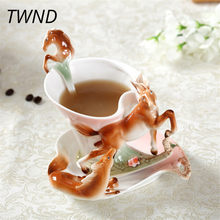 Bone china horse coffee mugs with tray spoon sets tea milk cups creative home office drinkware friend gifts(China)