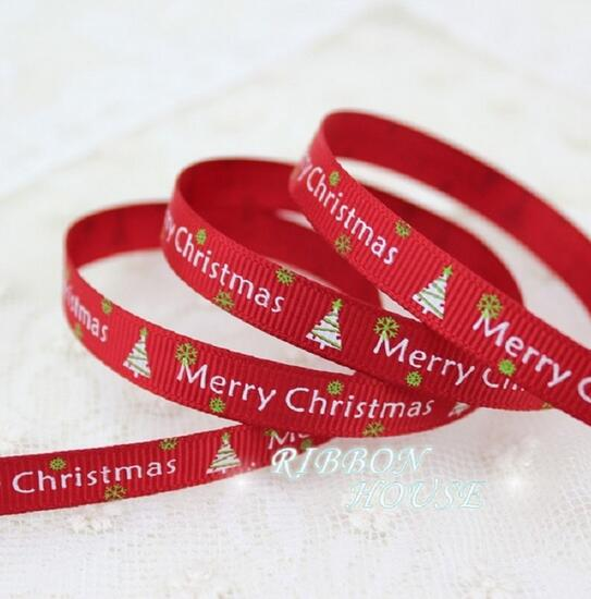 (2 merter/lot 3/8 »(10 мм) красный печатных grosgrain ленты Merry Рождество атласные ленты Вышивание ткань ручной DIY жаккардовая лента