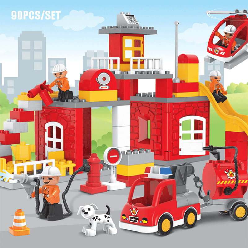 Large size 90pcs fire station fire engine model building for Modele maison lego duplo