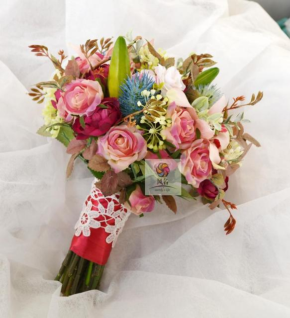 Diy New Style Handmade Pink Retro Rose Lily Bouquet Hand Holding