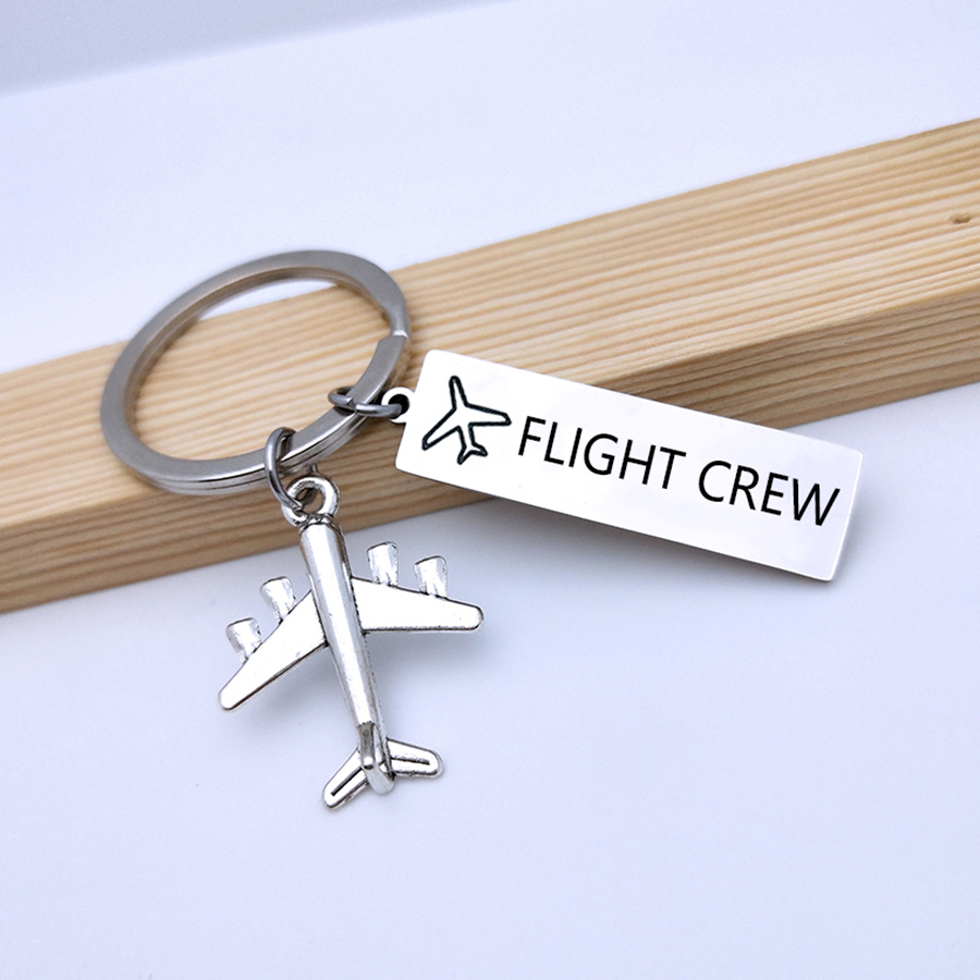 FLIGHT CREW Keyring Fly Safe Plane Keychain For Couples Women Men Boyfriend Husband Pilot Flight Attendant Gift Airplane Key Fob