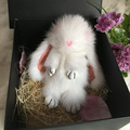 Envío de la manera de visón, conejo, lindo, divertido nariz de Copenhague Pequeño Monstruo de peluche de juguete colgante del bolso rojo conejo JKP-00321