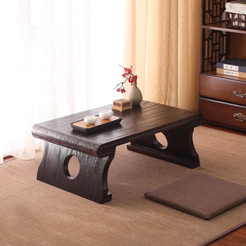 Wooden Tatami Low Tea Table Japanese Style Antique Wood Furniture Simple Small Laptop Table for  Living Room Balcony Bay Window oriental antique furniture design japanese floor tea table small rectangle home living room wooden coffee tatami low table wood