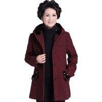 Women's Hooded Single Breasted Wool Coat long Winter Jackets large size woolen coats Outerwear for lady