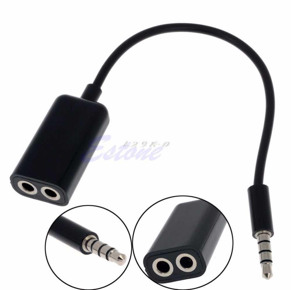 OOTDTY 3.5 ミリメートルステレオオーディオオスイヤホンヘッドセットマイクアダプタ PC 携帯電話