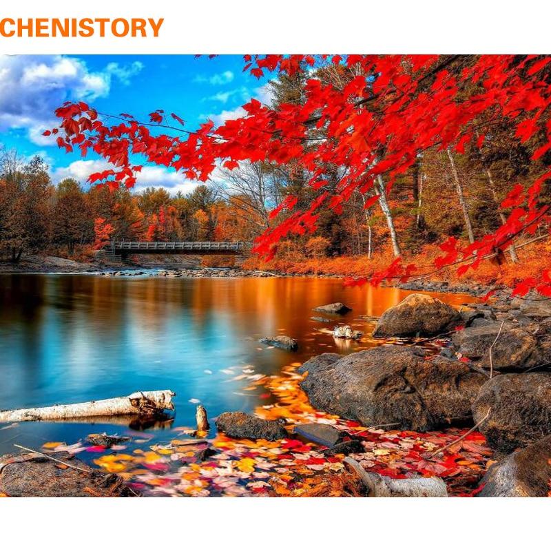 CHENISTORY Rosso Foresta Pittura FAI DA TE Da Numebrs Foto di Paesaggio Da Numeri Moderna di Arte Della Parete della Tela di Canapa Pittura Unque Regalo di Opere D'arte