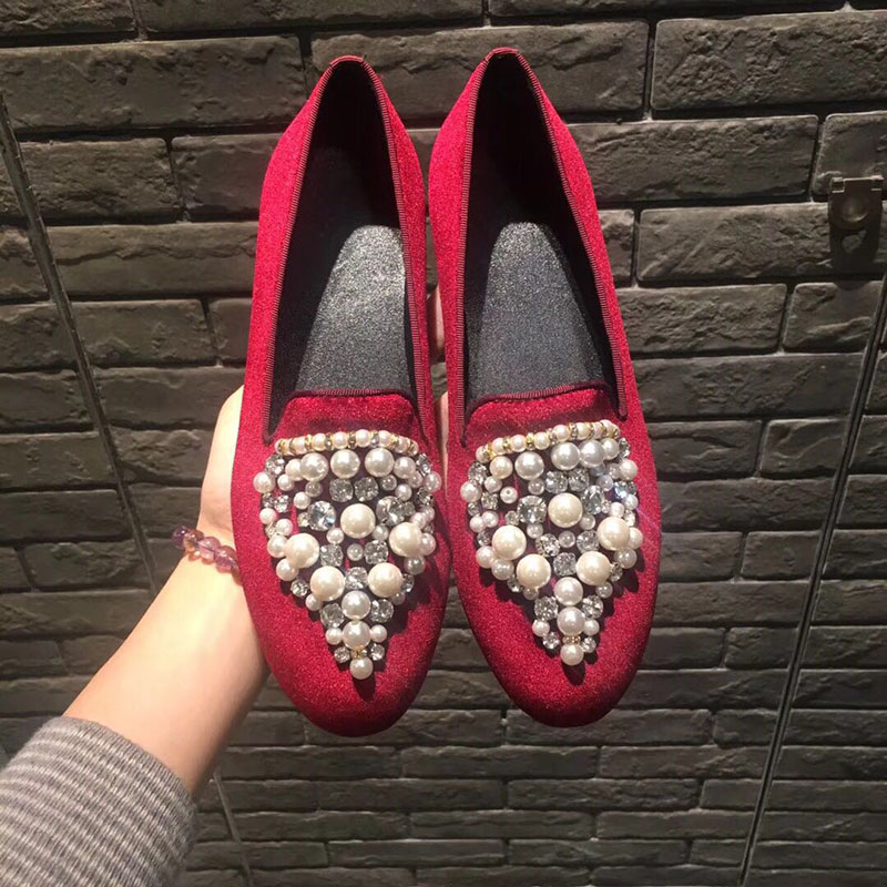 2018 New Spring Summer Shoes Woman Shallow Round Toe Pearls Loafers Designer Velvet Slip On Lazy Flats Casual Woman Shoes Tide2018 New Spring Summer Shoes Woman Shallow Round Toe Pearls Loafers Designer Velvet Slip On Lazy Flats Casual Woman Shoes Tide