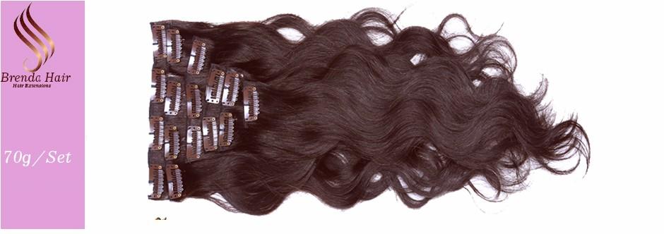 #4  Dark Brown Clip In Human Hair Extensions Virgin Peruvain Remy Hair Silky Straight Human Hair Clip Ins Free Shipping for Blak 70g (7)
