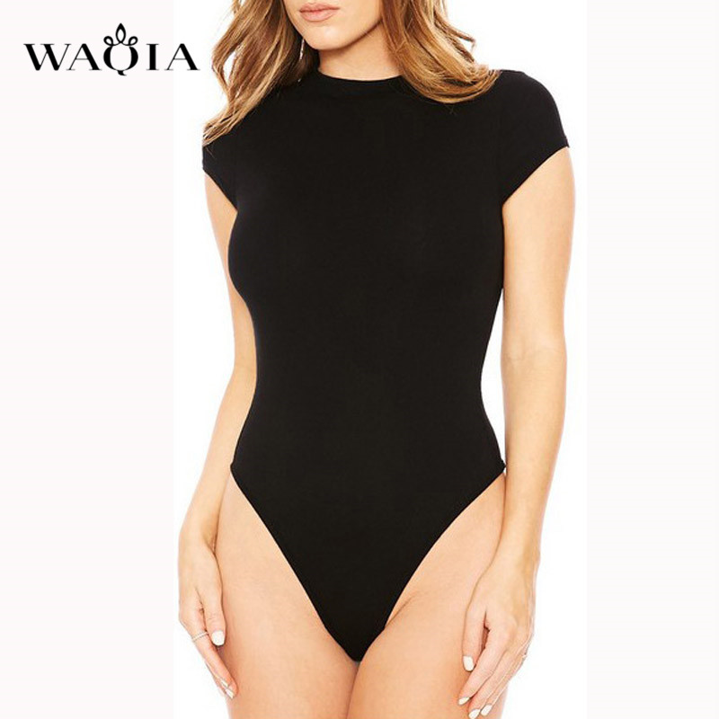 WAQIA 2019 Bodysuit Women Summer   Jumpsuits   Playsuits Cotton O-neck Bodysuits Rompers Coveralls Body for Women Solid Combishort