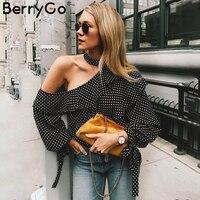 Berrygo واحد الكتف البولكا نقطة بلوزة قميص ريترو كشكش فانوس كم الشيفون بلوزة مثير الصيف القوس النساء البلوزات 2018