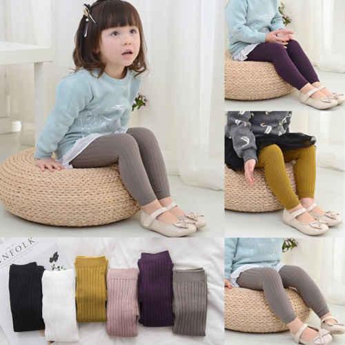 Calça listrada de algodão para bebês, nova legging listrada para meninas, crianças skinny, outono/inverno, cintura alta, para crianças pequenas, 2018