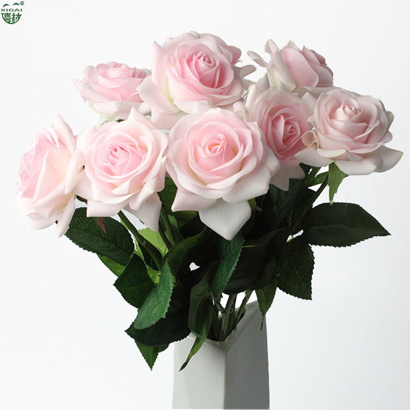 (EXTRA 10%OFF/2LOTS) 11Pieces 7.5cm Bloom Home/Wedding Decoration Artificial Flower Bride Bouquet Latex Real Touch Rose Flowers
