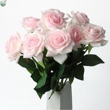 (ACQUISTARE 2 LOTTO OTTENERE ULTERIORE 10% di SCONTO) 11 Pezzi/lottp Casa/Decorazione di Cerimonia Nuziale Fiore Artificiale Sposa Bouquet Lattice Reale di Tocco di Fiori di Rosa