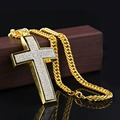 New 2015 Hip Hop 24K Gold/Silver Rapper Vintage Crystal Cross Pendant Necklace Chain Men Jewelry Necklaces&Pendants Accessories
